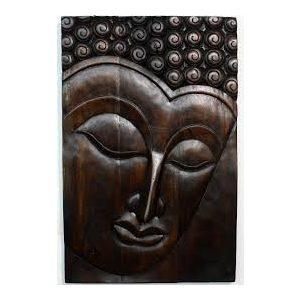 Egzotikus kézzel faragott fa Buddha barna falikép -NAGY MÉRETŰ 60 x 37 cm