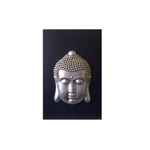 Domború falikép ezüst színű Buddha mintával - NAGY MÉRETŰ 46 x 30 cm