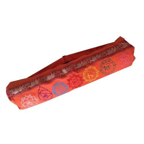 Hímzett chakra mintás hengerpárna vagy jógamatrac táska narancs