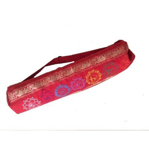 Hímzett chakra mintás hengerpárna vagy jógamatrac táska piros