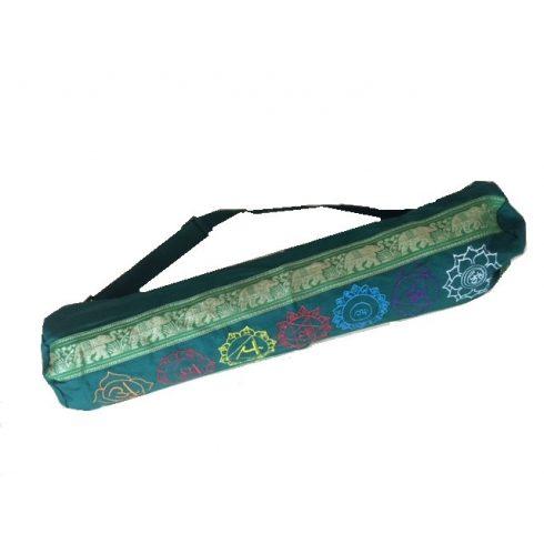 Hímzett chakra mintás hengerpárna vagy jógamatrac táska zöld