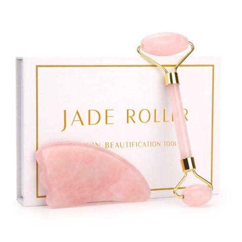 Jade, rózsakvarc arcmasszírozó roller és kő szett - elegáns díszdobozban