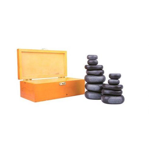 LÁVAKŐ / bazaltkő szett, 12 darabos + ajándék fa dobozban