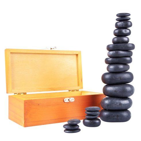 Lávakő/forró kő szett, 20 darabos + ajándék fa dobozban