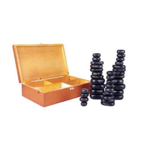Lávakő/forró kő szett, 36 darabos + ajándék fa dobozban