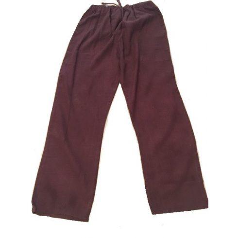 Laza, könnyű, len nadrág gumis derékkal - barna szín