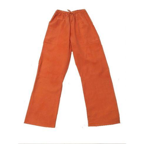 Laza, könnyű, len nadrág gumis derékkal - narancs szín