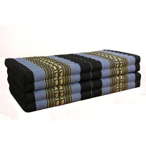 Hajtható XXL thai masszázs matrac FEKETE-KÉK-ELEFÁNTMINTÁS -110 cm