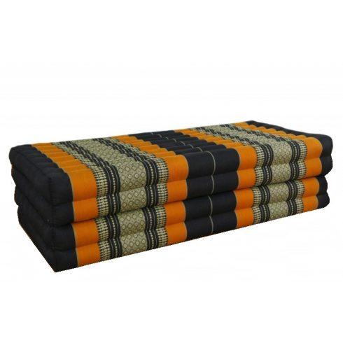 Hajtható XXL thai matrac FEKETE-NARANCS-PÁLMAMINTÁS - 110 cm