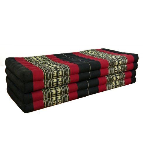 Hajtható XXL thai masszázs matrac FEKETE-PIROS-ELEFÁNTMINTÁS -110 cm