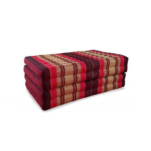 Hajtható thai matrac BORDÓ-PIROS-PÁLMAMINTÁS -80 cm