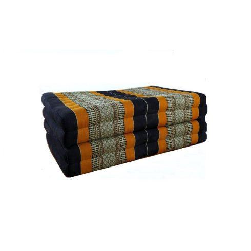 Hajtható thai masszázs matrac FEKETE-NARANCS-PÁLMAMINTÁS - 80 cm