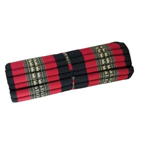 XXL Tekerhető thai masszázs matrac FEKETE-PIROS-ELEFÁNTMINTÁS -110 cm