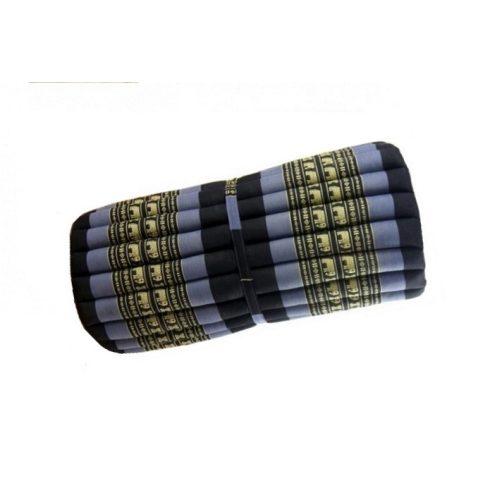 Tekerhető thai masszázs matrac, FEKETE-KÉK-ELEFÁNTMINTÁS - 75 cm