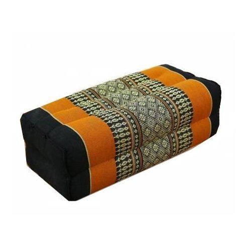 Thai hasáb alakú párna FEKETE-NARANCS-PÁLMAMINTÁS
