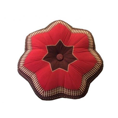 Thai virág alakú ülőpárna, meditációs párna BORDÓ-PIROS-PÁLMAMINTÁS